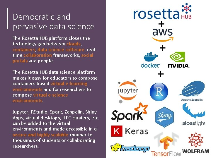 Democratic and pervasive data science The Rosetta. HUB platform closes the technology gap between