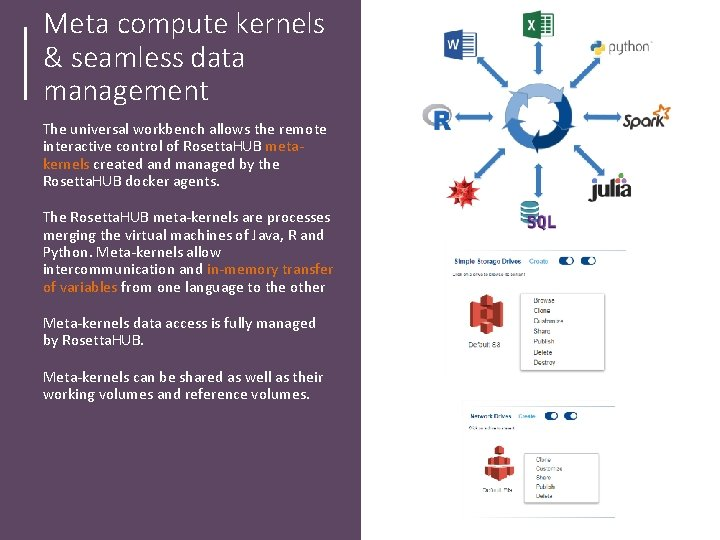 Meta compute kernels & seamless data management The universal workbench allows the remote interactive