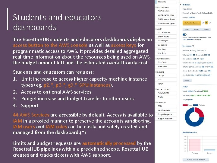 Students and educators dashboards The Rosetta. HUB students and educators dashboards display an access