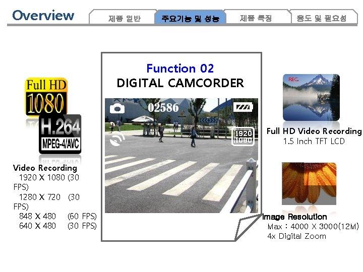 Overview 제품 일반 주요기능 및 성능 제품 특징 Function 02 DIGITAL CAMCORDER 용도 및