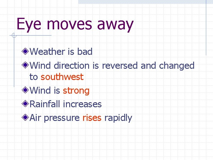 Eye moves away Weather is bad Wind direction is reversed and changed to southwest
