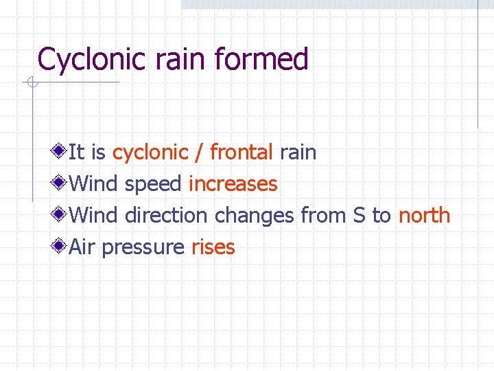 Cyclonic rain formed It is cyclonic / frontal rain Wind speed increases Wind direction