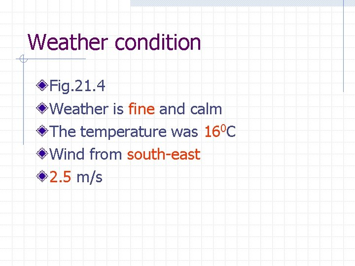 Weather condition Fig. 21. 4 Weather is fine and calm The temperature was 160
