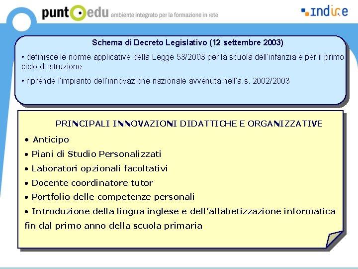 Schema di Decreto Legislativo (12 settembre 2003) • definisce le norme applicative della Legge
