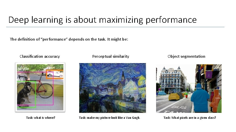 """Deep learning is about maximizing performance The definition of """"performance"""" depends on the task."""