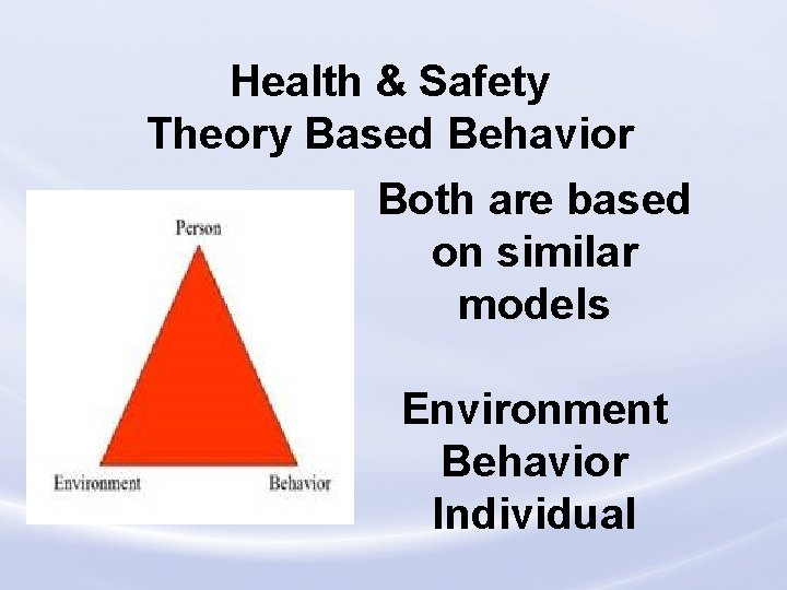 Health & Safety Theory Based Behavior Both are based on similar models Environment Behavior