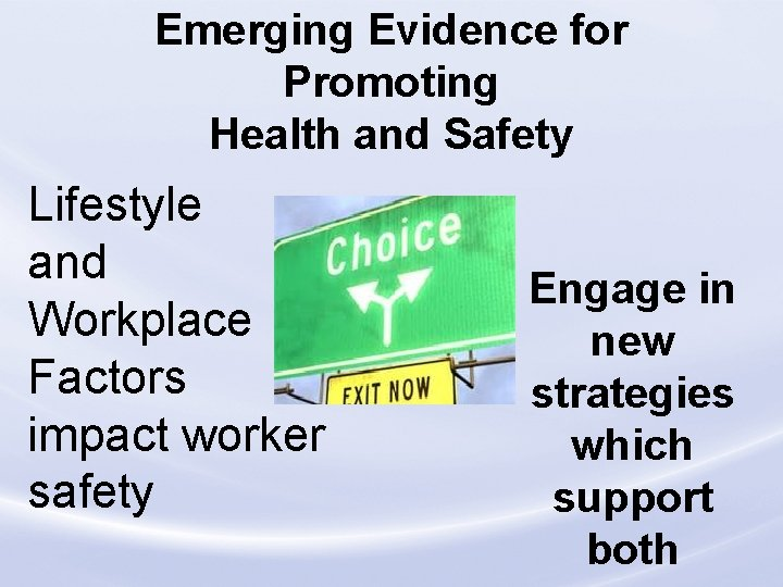 Emerging Evidence for Promoting Health and Safety Lifestyle and Workplace Factors impact worker safety