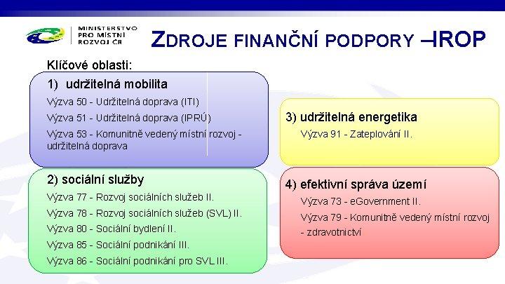 ZDROJE FINANČNÍ PODPORY – IROP Klíčové oblasti: 1) udržitelná mobilita Výzva 50 - Udržitelná