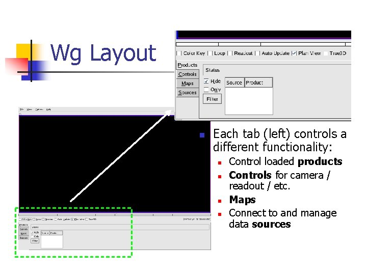 Wg Layout n Each tab (left) controls a different functionality: n n Control loaded