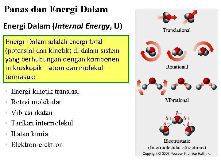 Panas dan Energi Dalam (Internal Energy, U) Energi Dalam adalah energi total (potensial dan