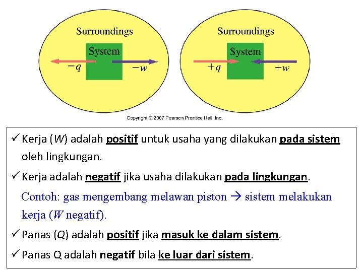 ü Kerja (W) adalah positif untuk usaha yang dilakukan pada sistem oleh lingkungan. ü