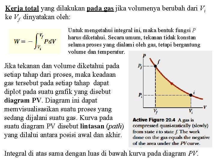 Kerja total yang dilakukan pada gas jika volumenya berubah dari Vi ke Vf dinyatakan