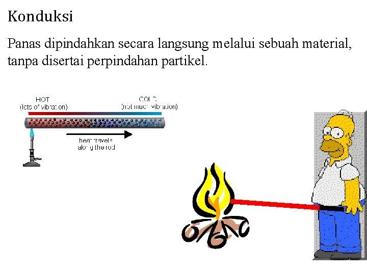 Konduksi Panas dipindahkan secara langsung melalui sebuah material, tanpa disertai perpindahan partikel.