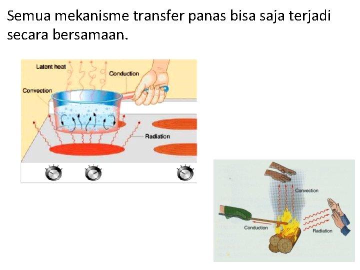 Semua mekanisme transfer panas bisa saja terjadi secara bersamaan.