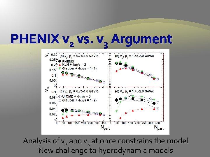 PHENIX v 2 vs. v 3 Argument Analysis of v 2 and v 3