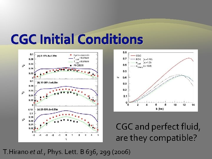 CGC Initial Conditions CGC and perfect fluid, are they compatible? T. Hirano et al.