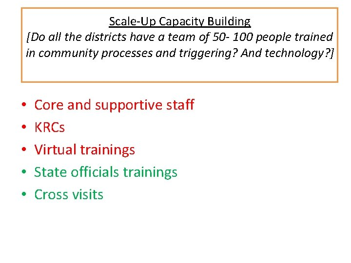 Scale-Up Capacity Building [Do all the districts have a team of 50 - 100