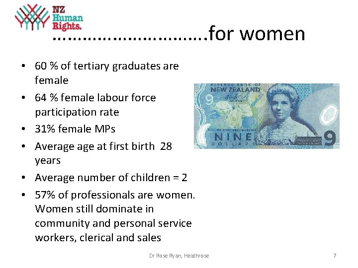 ……………. for women • 60 % of tertiary graduates are female • 64 %