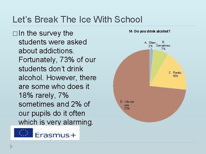 Let's Break The Ice With School � In the survey the students were asked