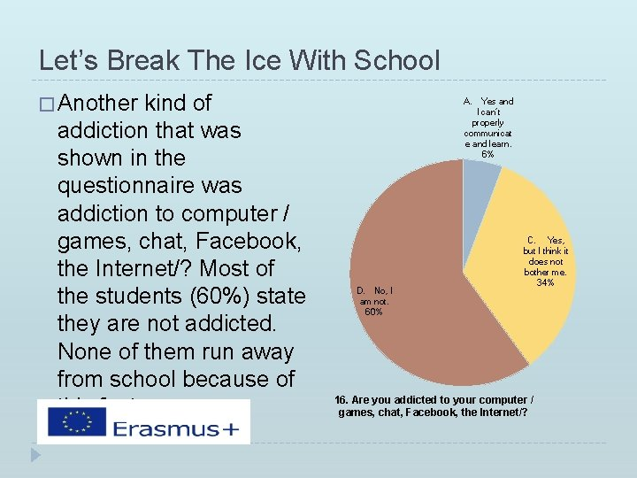 Let's Break The Ice With School � Another kind of addiction that was shown