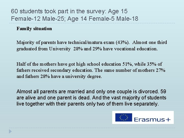 60 students took part in the survey: Age 15 Female-12 Male-25; Age 14 Female-5