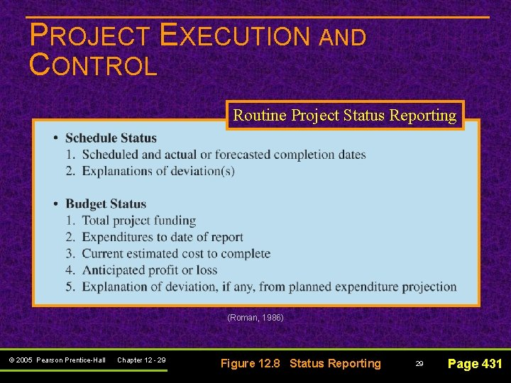 PROJECT EXECUTION AND CONTROL Routine Project Status Reporting (Roman, 1986) © 2005 Pearson Prentice-Hall