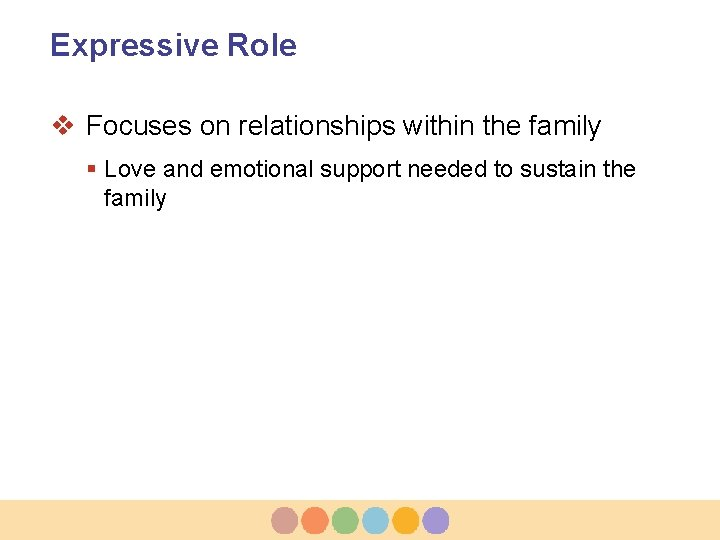 Expressive Role v Focuses on relationships within the family § Love and emotional support