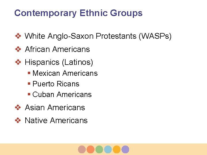 Contemporary Ethnic Groups v White Anglo-Saxon Protestants (WASPs) v African Americans v Hispanics (Latinos)