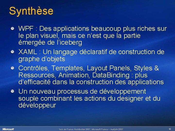 Synthèse WPF : Des applications beaucoup plus riches sur le plan visuel, mais ce