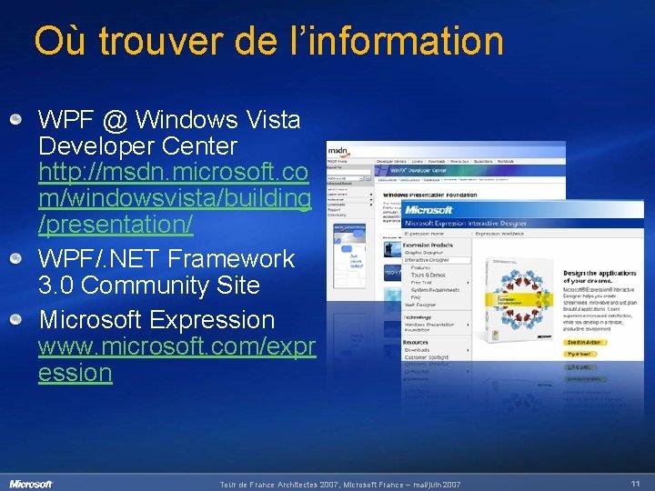 Où trouver de l'information WPF @ Windows Vista Developer Center http: //msdn. microsoft. co
