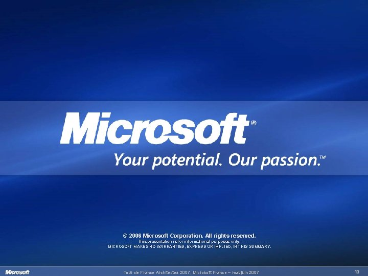 © 2006 Microsoft Corporation. All rights reserved. This presentation is for informational purposes only.