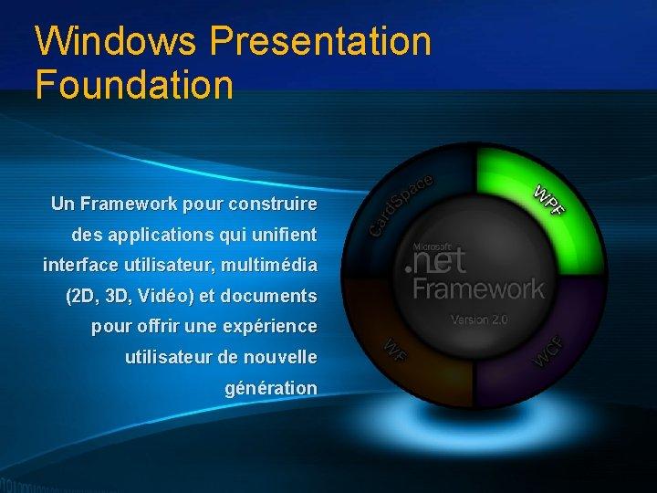 Windows Presentation Foundation Un Framework pour construire des applications qui unifient interface utilisateur, multimédia