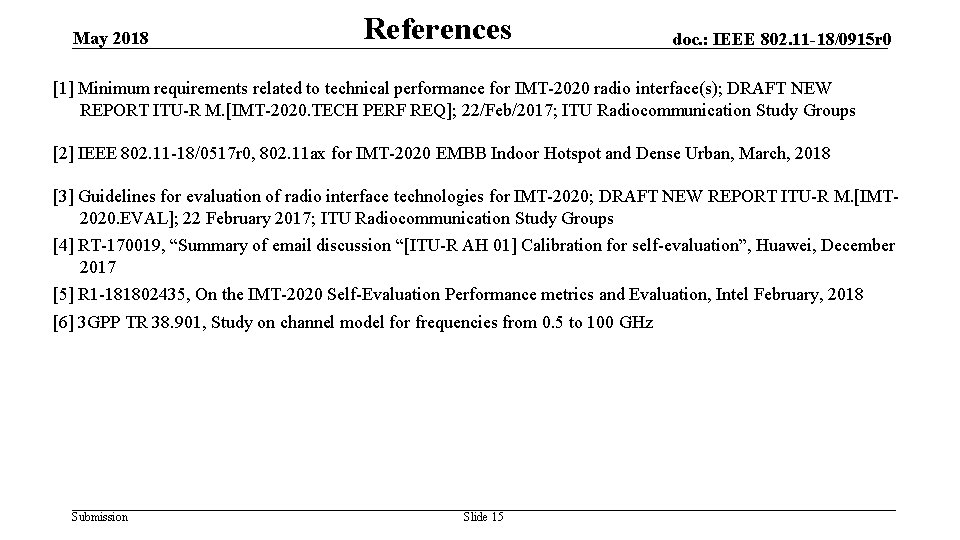 May 2018 References doc. : IEEE 802. 11 -18/0915 r 0 [1] Minimum requirements