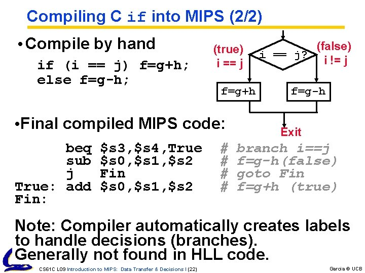 Compiling C if into MIPS (2/2) • Compile by hand if (i == j)
