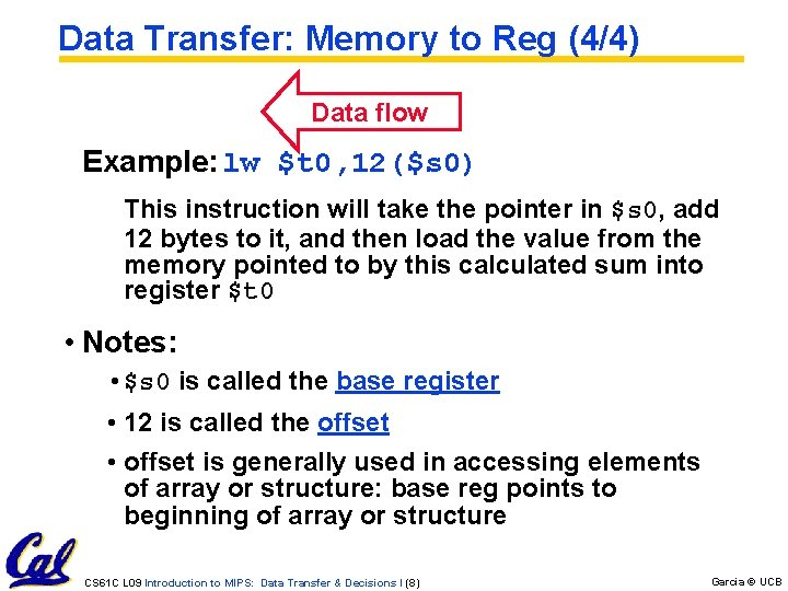 Data Transfer: Memory to Reg (4/4) Data flow Example: lw $t 0, 12($s 0)