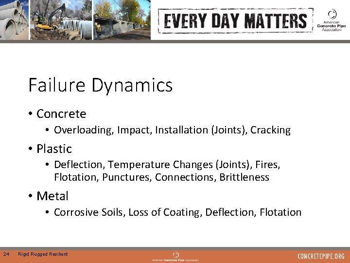 Failure Dynamics • Concrete • Overloading, Impact, Installation (Joints), Cracking • Plastic • Deflection,