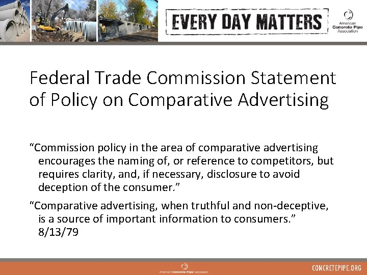 """Federal Trade Commission Statement of Policy on Comparative Advertising """"Commission policy in the area"""