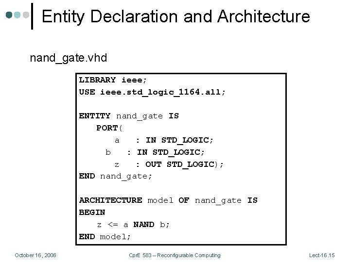 Entity Declaration and Architecture nand_gate. vhd LIBRARY ieee; USE ieee. std_logic_1164. all; ENTITY nand_gate