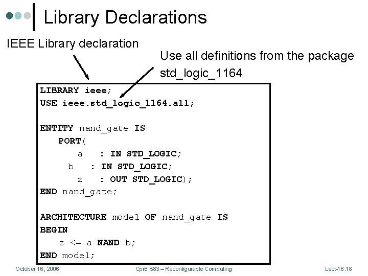 Library Declarations IEEE Library declaration Use all definitions from the package std_logic_1164 LIBRARY ieee;