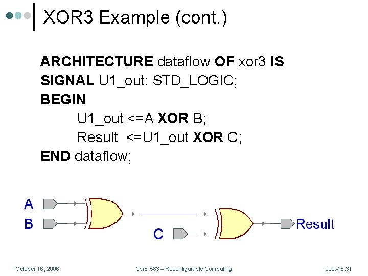 XOR 3 Example (cont. ) ARCHITECTURE dataflow OF xor 3 IS SIGNAL U 1_out: