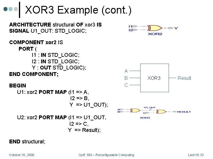 XOR 3 Example (cont. ) ARCHITECTURE structural OF xor 3 IS SIGNAL U 1_OUT: