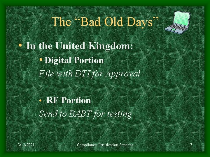 """The """"Bad Old Days"""" • In the United Kingdom: • Digital Portion File with"""