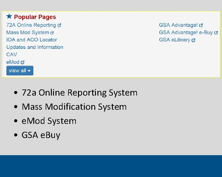 • • 72 a Online Reporting System Mass Modification System e. Mod System