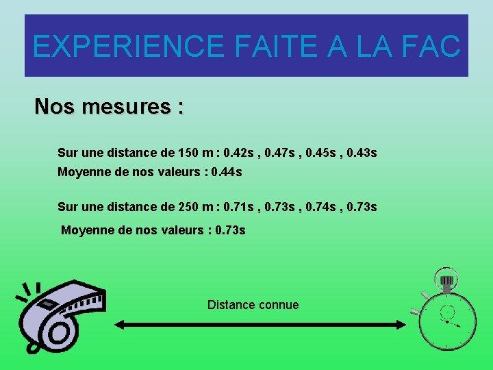 EXPERIENCE FAITE A LA FAC Nos mesures : Sur une distance de 150 m