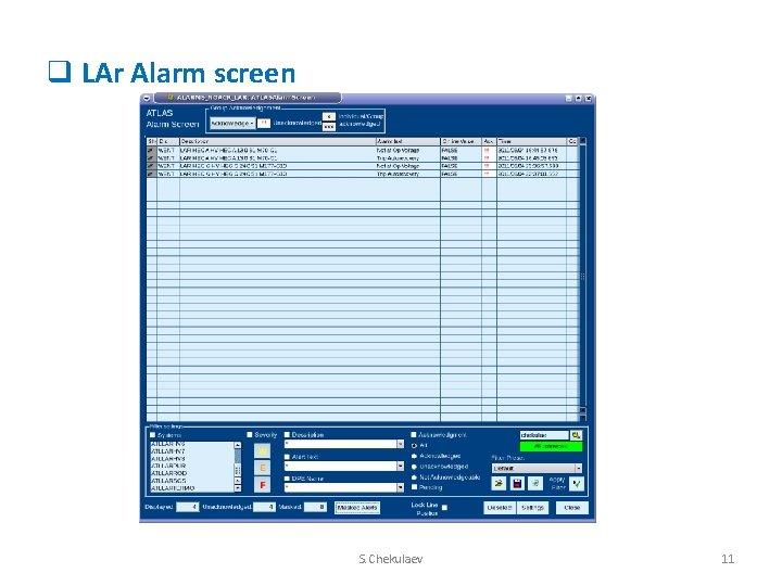 q LAr Alarm screen S. Chekulaev 11