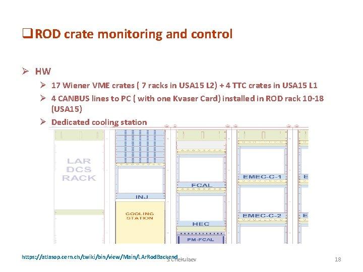 q. ROD crate monitoring and control Ø HW Ø 17 Wiener VME crates (