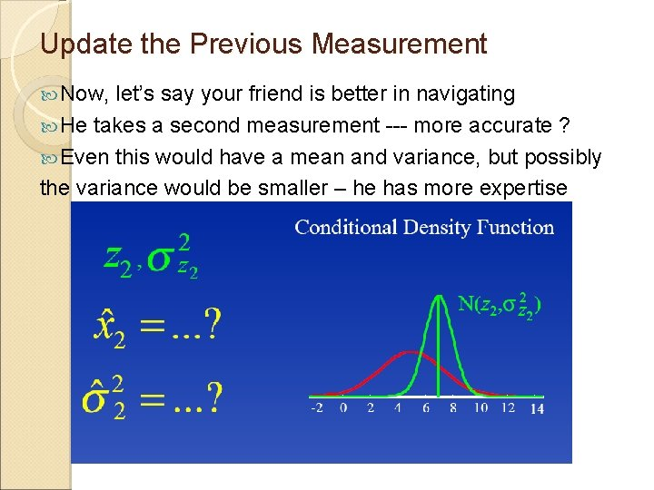 Update the Previous Measurement Now, let's say your friend is better in navigating He