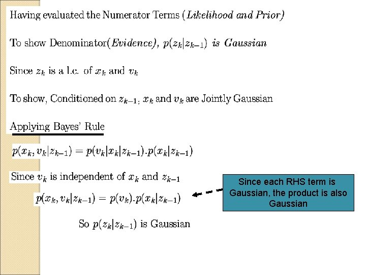 Since each RHS term is Gaussian, the product is also Gaussian