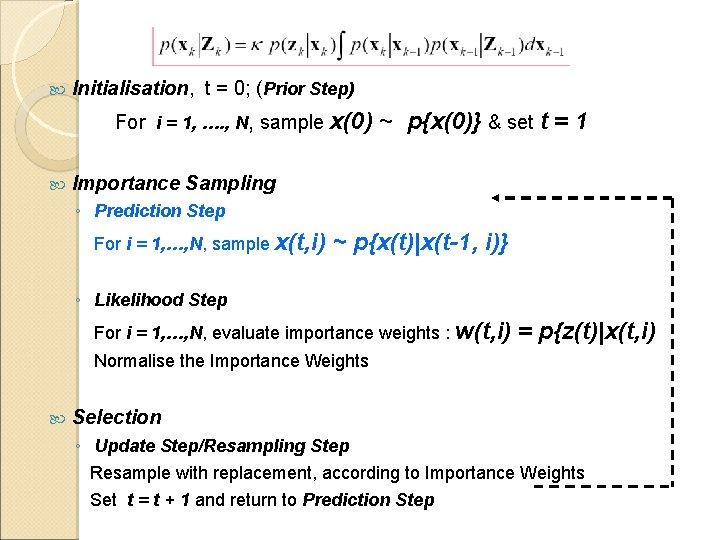 Initialisation, t = 0; (Prior Step) For i = 1, …. , N,