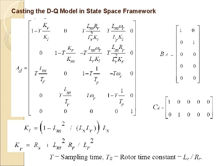 Casting the D-Q Model in State Space Framework
